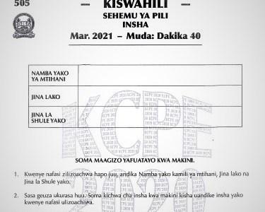 2020 KCPE KNEC Kiswahili Insha Past Paper