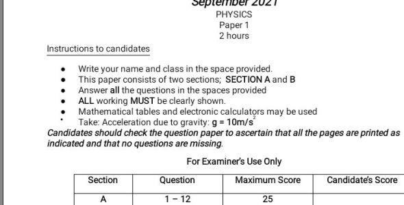 Pangani Girls Post Mock Physics Paper 1 2021