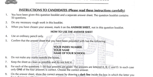 2020 KCPE KNEC Science Past Paper