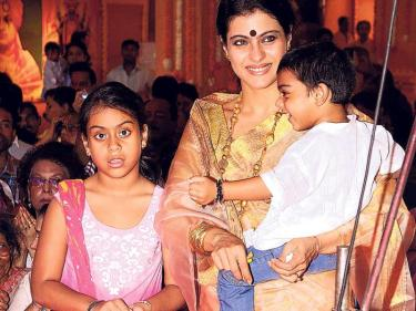 Kajol with her kids