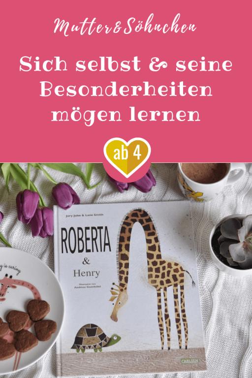 Was ist, wenn man etwas an seinem Körper total doof findet? Die Geschichte von Roberta und Henry zeigt, wie man seine Besonderheiten lieben lernt. #kinderbuch #giraffe #schildkröte #hals #selbstliebe #anderssein #besonders