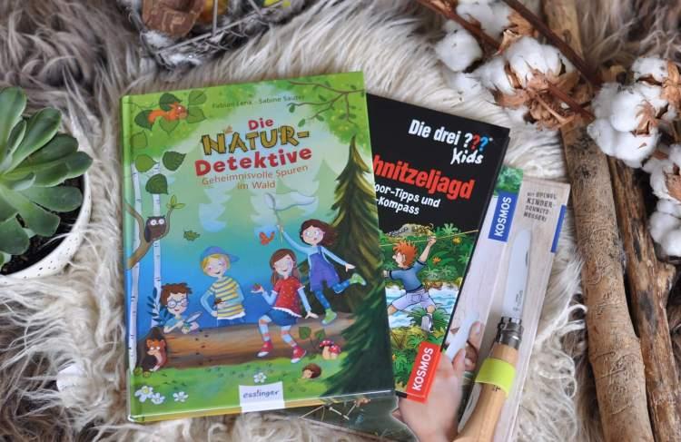 Schnitzanleitungen, Spurensuche und Anleitungen zum Outdoor-Abenteuer - mit diesen drei Büchern ist man bestens für Abenteuer in der Natur gerüstet. Die Buchvorschläge sind für Kinder ab 5 bzw. 8 Jahren. #outdoor #natur #zelten #lesen #kidnerbuch #buch #schnitzen #detektive #spurensuche #abenteuer #wolf