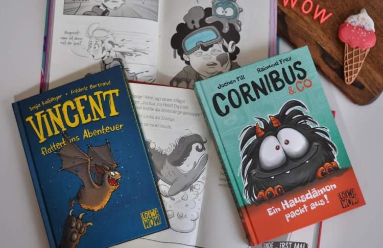 Freche, reduzierte Texte treffen auf Illustrationen im Comic-Style. Ich stelle euch die ersten vier Bände von Loewe Wow! vor. Mit dabei: Eine traurige Halbgeister-Fledermaus, vier clevere Detektiv-Tauben, zwei schräge Bug-Jäger und eine TV-Doku über Hausdämonen direkt aus der Hölle. Wow! #comic #kinder #buch #lesen #wow #illustration #lesemuffel