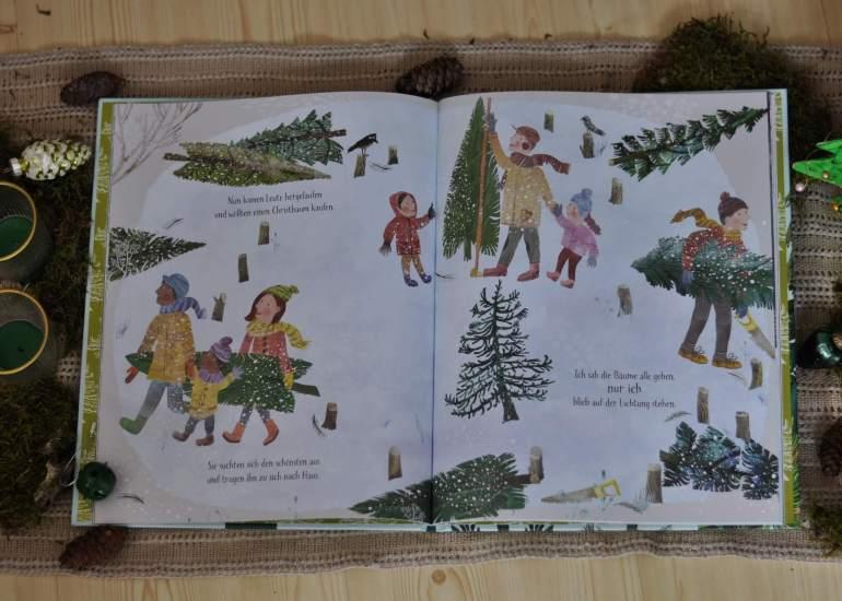 Aus einem kleinen Samen wächst eine Fichte. Sie ist nicht sonderlich groß und dazu auch noch krumm und schief. Als im Winter die Menschen kommen und nach den perfekten Weihnachtsbäumen für ihr Zuhause suchen, möchte keiner die kleine Fichte mit nach Hause nehmen. Einsam und traurig bleibt sie alleine zurück. #weihnachten #baum #fichte #wald #bilderbuch #reime #kinder