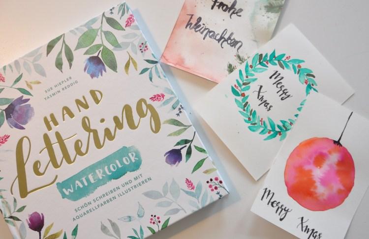"""Aquarell Weihnachtskarten gestalten mit dem Buch """"Handlettering Watercolor"""" #Verlosung"""