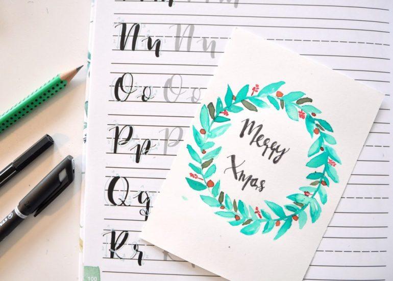 Handlettering Watercolor, mit Aquarellfarben florale Kränze für Weihnachten erstellen, Postkarten selbst gestalten, mein Buch-Tipp auf dem Blog