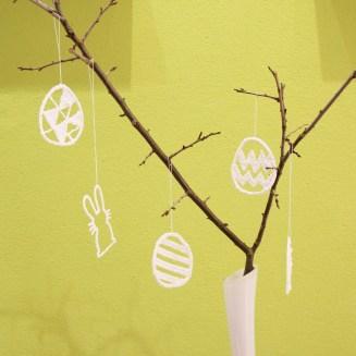 Osterstrauch mit 3d-gezeichnetem Behang, Osterdeko selbstgemacht   DIY   Muttis Nähkästchen