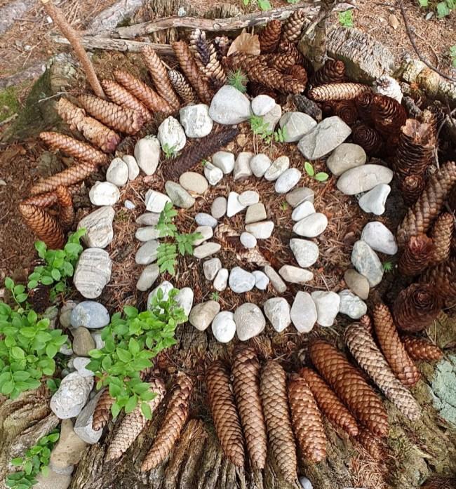 Landart: Mandalas legen in der Natur
