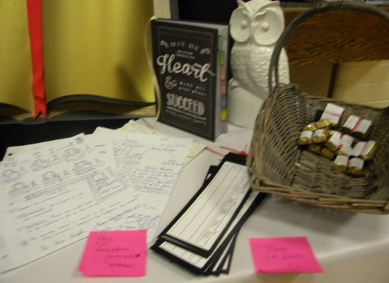 Handouts: a scripture marking bookmark, color code suggestions and scripture chocolates.