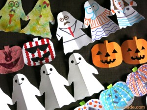 Halloween paper chain and garland templates: ghost and Jack O'Lantern