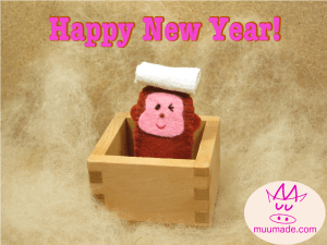 """Monkey finger puppet greeting """"Happy New Year"""""""