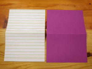Two sheets of construction paper cut and folded to make a Paper Cut Out Card