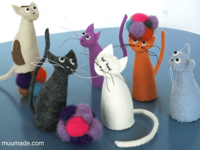Simply Simple Cat - sewing pattern - different colored felt cats