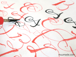 Fun with Calligraphy - calligraphy letters in black and red