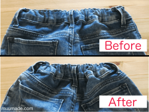 Extending Adjustable Waist Band - Jeans' adjustable waist bands - before & after extension