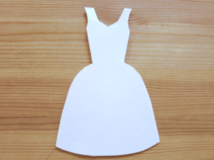 Making Cards with Tissue Paper Scrunchies- pale pink dress card cut out