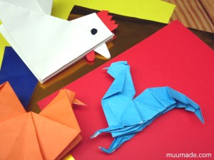 origami roosters and chickens