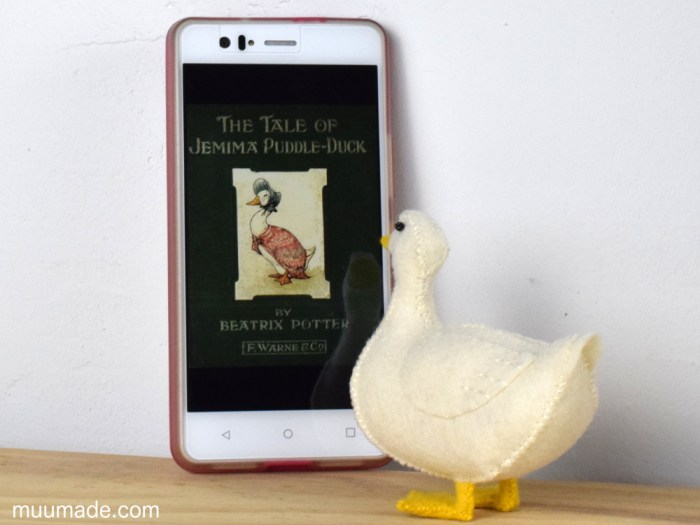 Little Felt Duck sewing pattern tutorial, with Jemima Puddle-Duck
