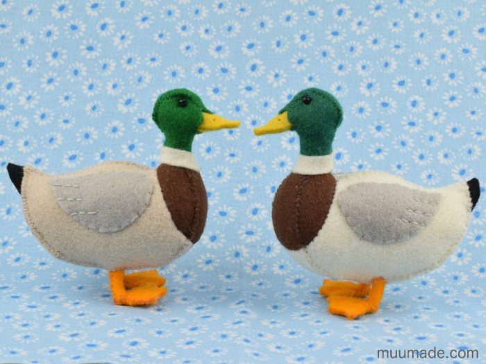 Little Felt Duck sewing pattern tutorial - Mallard