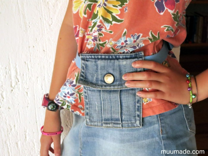 Making a waist pouch from a pocket - upcycling DIY project