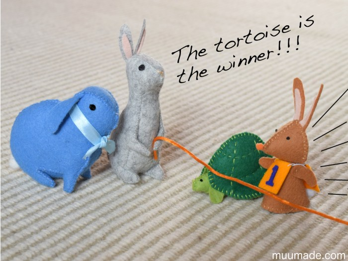 Muumade's bunny and tortoise sewing patterns
