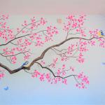 bloesemtak muurschildering kinderkamer