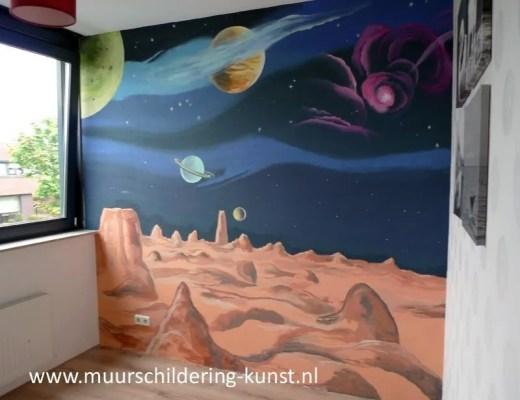 Muurschildering heelal