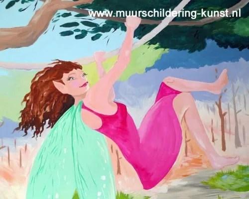 muurschildering elfje