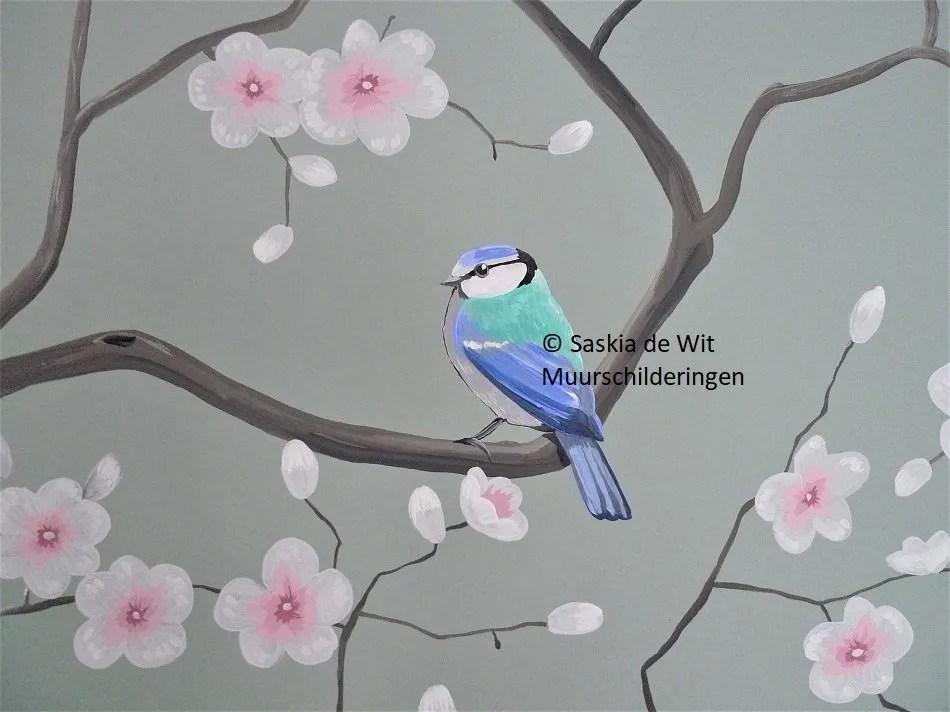 muurschildering vogel