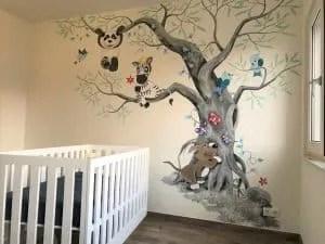 kinderkamer muurschildering idee
