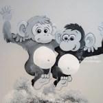 kinderkamer muurschildering aapjes