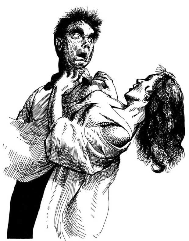 Vampire Carring Struggling Woman