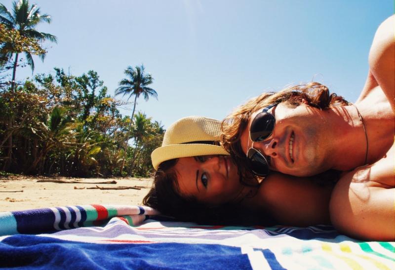 Palmun alla Mission Beachillä