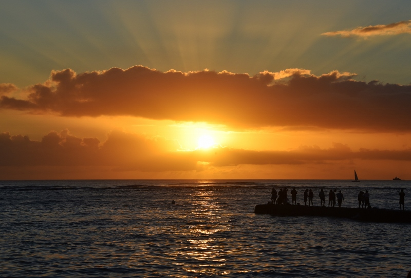 Auringonlasku Honolulussa