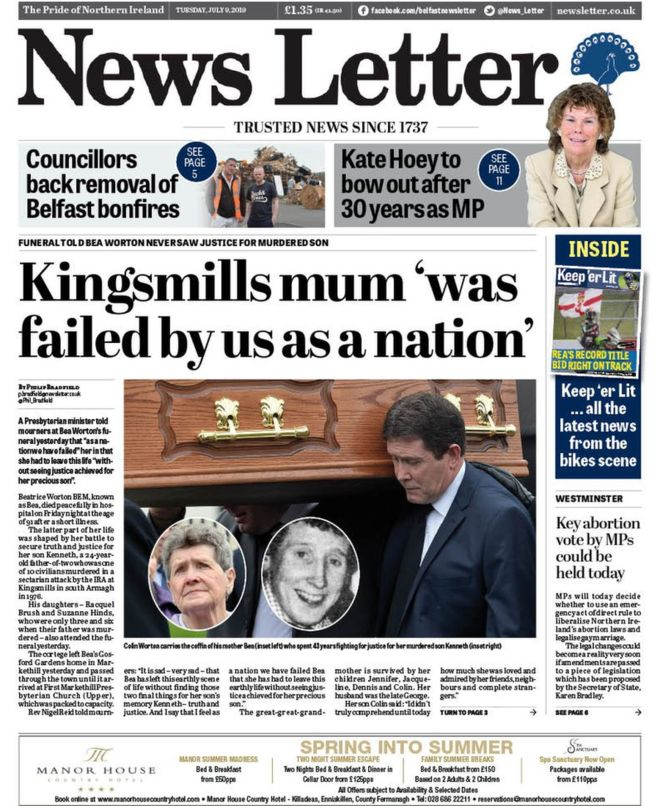 NI Paper review: Bonfire tyre removal and Holy Communion costs 1