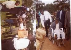 Grandson Andrew Ankunda Kikira and Rwakakamba distributing wheel Chairs and condoms in 2005. Kosiya Kikira witnessed the function