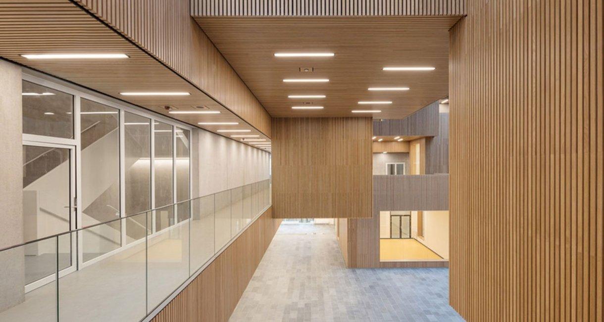 Life-Science-Bioengineering-oak-wood-building-floor-hallway