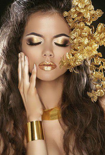 labios metalizados dorados