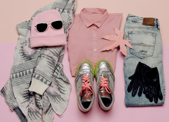 Stylish clothes set. City casual fashion. Spring. Accessories. Pink shirt. Jeans. Bag. Beanie girls Glamorous Sneakers