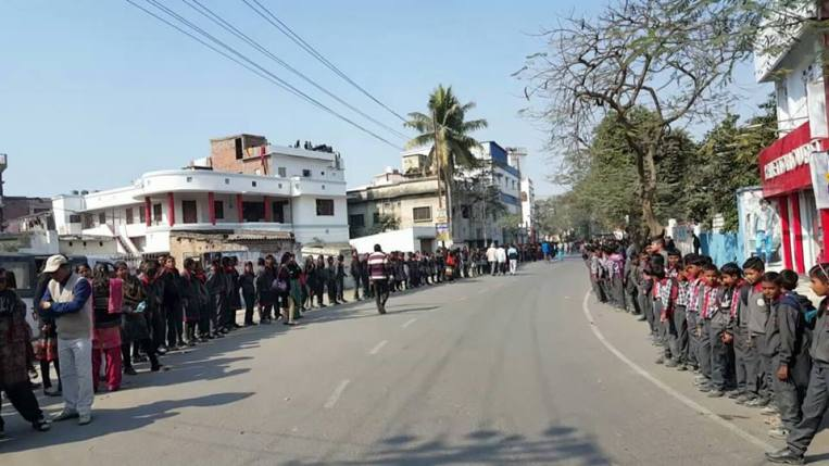 The human chain formed today in Muzaffarpur in support of prohibition of Alcohol