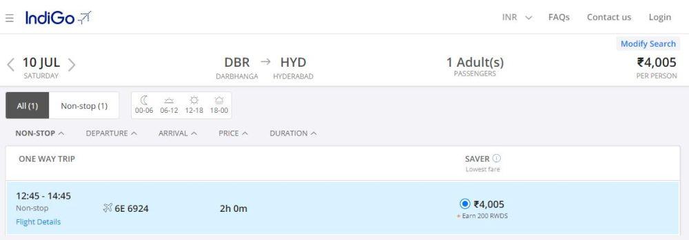 INDIGO FLIGHT FROM DARBHANGA to hyderabad
