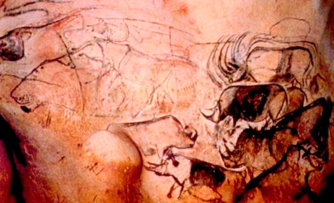 Сликарите од пештерата Шове во јужна Франција(од пред 32.000 год), се едни од најстарите и најспектакуларните примери од уметноста на леденото време. Црвени и црни цртежи и гравури, прикажуваат голем дијапазон на животни, најчесто коњи и бизони а поретко лавови и носорози.