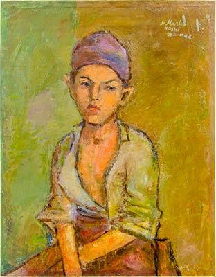 """Уметничка слика """"Портрет на девојче"""" – современа уметност, автор Никола Мартиноски"""