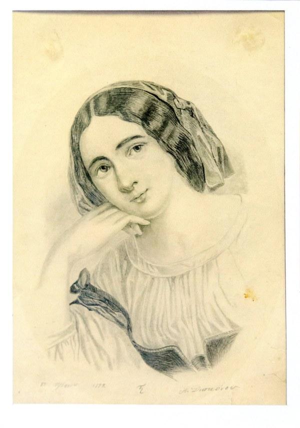"""Уметничка слика – цртеж изработен со молив """"Портрет на девојка""""- современа уметност, автор Александар Ѓаконов"""