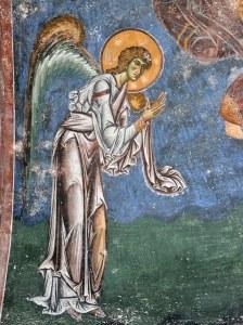 """Read more about the article Фреска од црквата """"Св. Ѓорѓи"""" во Курбиново, претстава на Ангелот Гаврил"""