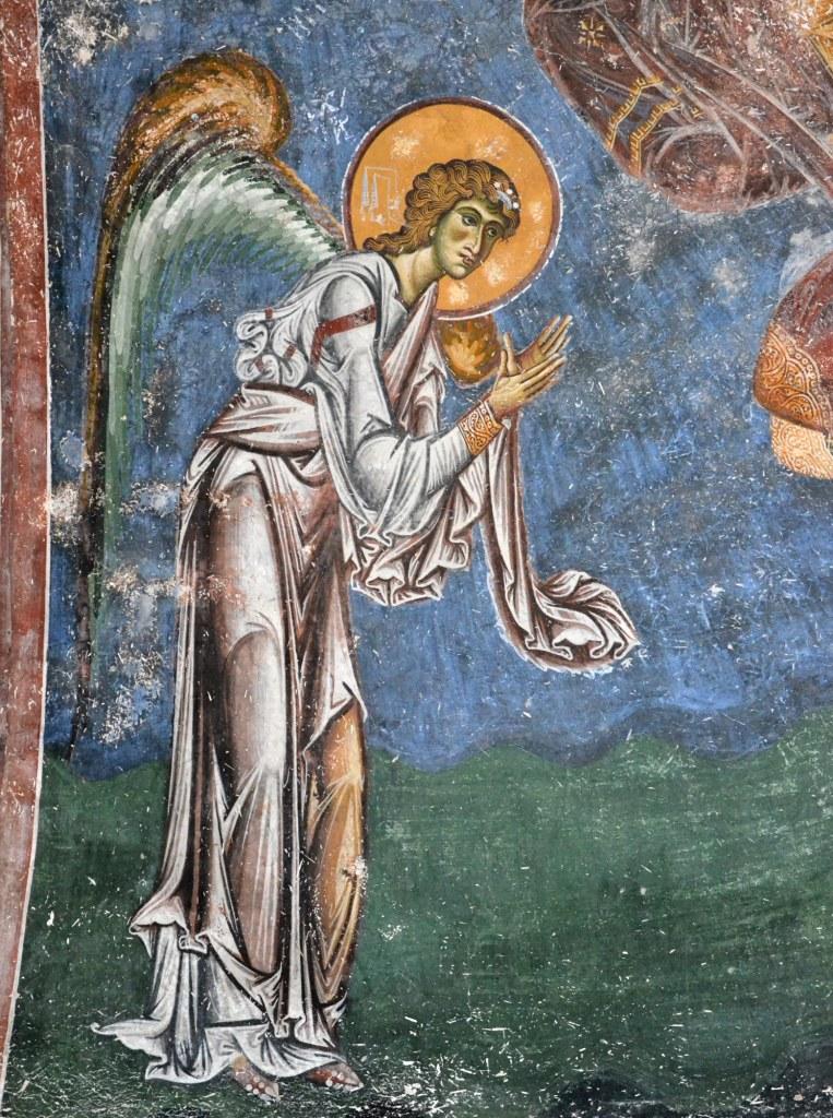 """Фреска од црквата """"Св. Ѓорѓи"""" во Курбиново, претстава на Ангелот Гаврил"""