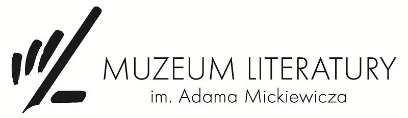 uproszczone wyobrażenie dłoni trzymającej pióro przedstaione za pomocą kilku grubych linii, a po prawej stronie napis muzeum literatury imienia adama mickiewicza
