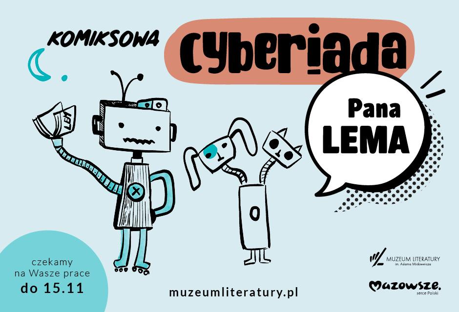 plakat konkursu przedstawiający dwa roboty narysowan w konwencji komiksowej