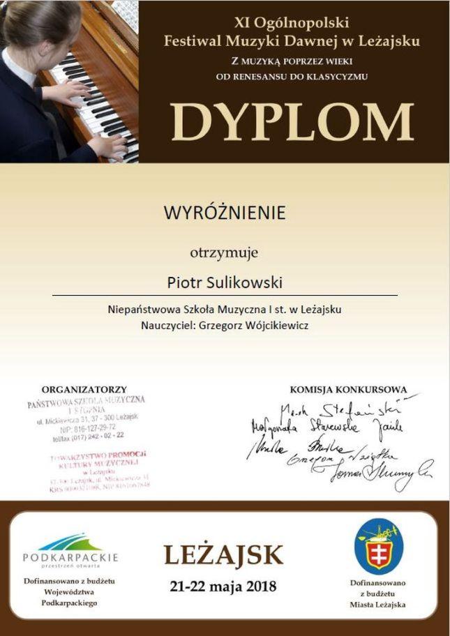Piotr Sulikowski - dyplom
