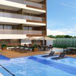 Perspectiva da piscina com raia de 25m e lounge gourmet